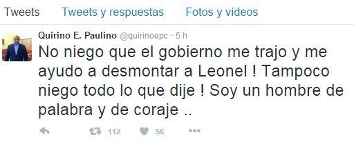 Twit a nombre de Quirino Paulino afirma que el gobierno lo trajo para atacar a Leonel