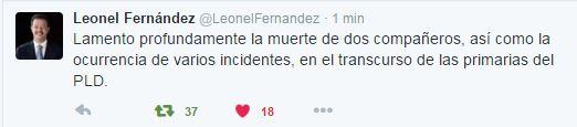 Leonel Fernández lamenta muertes en convención PLD