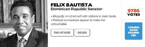 Senador Félix Bautista se mantiene en cuarto lugar en último día de consulta global sobre corrupción