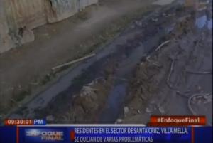 Residentes en el sector Santa Cruz, Villa Mella, se quejan de varias problemáticas