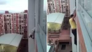 Trepó hasta un piso 13 para salvarle la vida de un perro