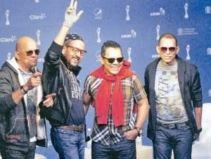 Los hermanos Luis, Toño, Rafa y Tony Rosario demostraron a la prensa que no hay problemas entre ellos. Fuente: Photonews.do
