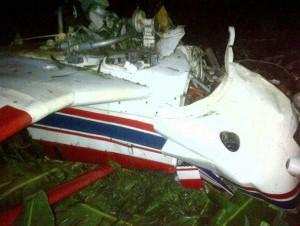 Avioneta que cayó en cable de alta tensión en Hatillo Palma. El piloto Arnaldo Rojas, permanece en estado grave.