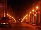 Centro de Santiago iluminado.