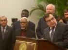 El presidente del Consejo de Seguridad de Naciones Unidas, Cristian Barros, habla en Palacio Nacional antes de una conferencia de prensa en conjunto con el presidente haitiano Michel Martelly en Puerto Príncipe.