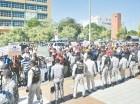 Miembros de Unatrafin protestaron frente a la sede de la Procuraduría.