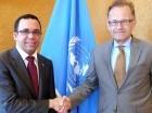 El Canciller Andrés Navarro y el embajador de la ONU, Joachim Rücker.