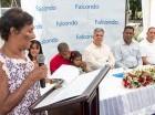 Durante el inicio del programa de voluntariado en Monseñor Nouel y La Vega por parte de Falcondo.