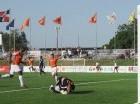 Aitor Ramírez levanta los brazos tras anotar el gol para Cibao FC, que ahora suma siete victorias, cinco empates y cuatro derrotas.
