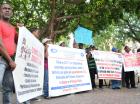Buhoneros se manifestaron ayer en contra de supuestos desalojos.