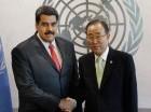 Nicolás Maduro saluda a Ban Ki-moon.