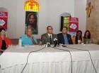 Los dirigentes religiosos durante la rueda de prensa celebrada ayer.