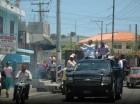 El precandidato a diputado por el Partido de la Liberación Dominicana (PLD), Frank López, durante un marcha caravana.
