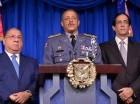 José Ramón Fadul, ministro de Interior y Policía, Nelson Peguero, jefe PN y Gustavo Montalvo, ministro de la Presidencia.