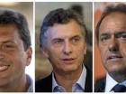 Tres de los candidatos a la presidencia, abogado Sergio Massa, alcalde de Buenos Aires Mauricio Macri y el gobernador de Buenos Aires Daniel Scioli.