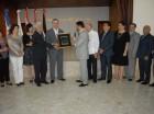 Luis Abinader mientras recibía  el reconocimiento de la Junta Directiva del  Club Libanes, Sirio, Palestino.