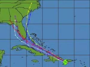 Tormenta Erika se localiza al sureste de RD, a unos 195 kilómetros al este-sureste de Santo Domingo con vientos de 85 kilómetros por hora.