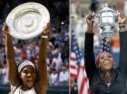 Serena Williams levanta los trofeos de campeona del torneo de Wimbledon 2015 (izquierda) y el Abierto de Estados Unidos 2014.