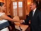 El presidente Danilo Medina junto a la chef dominicana María Marte.