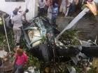 Helicóptero que se precipitó sobre una casa en el barrio Maquiteria.