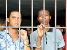 Iván Amaury Durán Batista y Juan Isidro de la Cruz en la cárcel de la corte.
