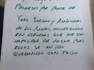 Parte de la nota suicida que dejó el arquitecto David Rodríguez García.