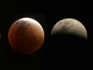 Esta combinación de cuatro imágenes tomadas durante un periodo de una hora muestra a la llamada superluna, y su evolución desde casi llena a casi totalmente eclipsada, sobre Brasilia, Brasil, el domingo 27 de septiembre de 2015.