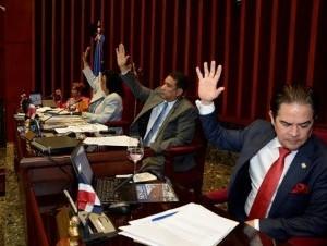 Durante la sesión del Senado.