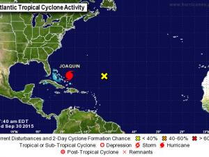 Los vientos sostenidos máximos de la tormenta Joaquín rondaban los 110 kilómetros por hora (70 millas por hora).