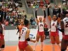 La selección femenina de voleibol de República Dominicana al momento de derrotar a Canadá en Norceca, y pasar a la final.