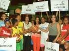 Acto del saque de honor para dejar inaugurado el torneo de baloncesto femenino.