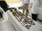 Partes de dos esqueletos humanos hallados en las inmediaciones del Palacio Número Uno del complejo del palacio presidencial afgano.