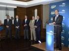 El administrador general de Banrservas, Enrique Ramírez Paniagua, pronuncia el discurso inaugural de Expomóvil Banreservas 2015, que permanecerá abierta hasta el domingo en la noche.