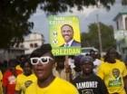 Partidarios del candidato presidencial Jude Celestin llegan a un acto proselitista en Croix-des-Bousquets, Haití, el 27 de septiembre del 2015. Celestin es uno de 54 aspirantes a la presidencia.