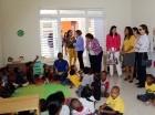 Durante el recorrido por la estancia infantil del sector Los Tres Brazos, en Santo Domingo Este.