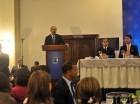 El presidente Danilo Medina durante su discurso en la Finjus.
