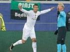 Cristiano Ronaldo celebra su primer gol para el Real Madrid en el minuto 18.