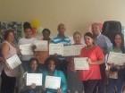 Durante la entrega de reconocimientos de la Sociedad Dominicana Manos Solidarias.