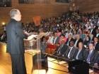 Carlos Amarante Baret expone los logros alcanzados por su gestión el año pasado. A la rendición de cuentas, realizada en la Biblioteca Nacional, asistieron educadores, intelectuales, académicos y representantes de instituciones educativas.