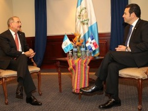Danilo Medina reunido con nuevo presidente guatemalteco, Jimmy Morales.