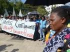 Cañeros protestan frente al Palacio Nacional.