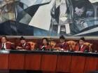 El pleno del Tribunal Constitucional (TC) durante la sesión de ayer en la SCJ.