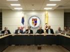 El equipo de coordinación conjunta para el Pacto Eléctrico, y el presidente del Consejo Económico y Social (CES), monseñor Agripino Núñez.