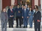 Los expresidentes Leonel Fernández, de República Dominicana, y Ernesto Samper, de Colombia, tras la reunión con el mandatario venezolano, Nicolás Maduro.