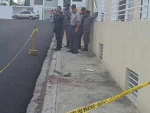 Lugar donde fue muerto por presuntos asaltantes un vigilante privado en Santiago.