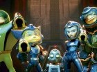 """De izquierda a derecha, Captain Qwark, cuya voz es interpretada por Jim Ward; Ratchet, con la voz de James Arnold Taylor; Clank, con la voz de David Kaye; Cora con la voz de Bella Thorne y Brax con la voz de Vincent Tong, en una escena de """"Ratchet and C"""