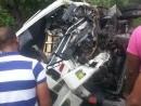 Camión involucrado en accidente tramo Azua Baní en que fallecieron 5 personas.