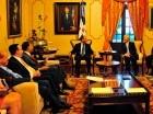 Los miembros de una misión del FMI durante una visita al presidente Danilo Medina y su equipo económico.