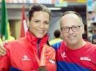 Rossy Félix sostiene que la esgrima no lo será todo en su vida; en la actualidad, estudia periodismo. Aquí, junto al entrenador italiano Giuseppe de Santis, cuando ganó la clasificación para los Juegos Olímpicos de Río, el pasado mes en Costa Rica.