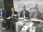 La cúpula empresarial durante la rueda de prensa para apoyar a la JCE.
